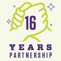 Hands clasping representing 16 years of partnership.