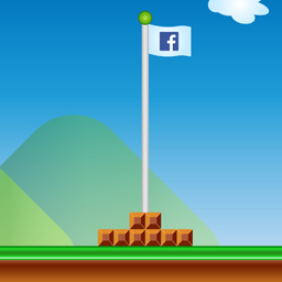 Facebook logo on Mario Brothers' style flag.