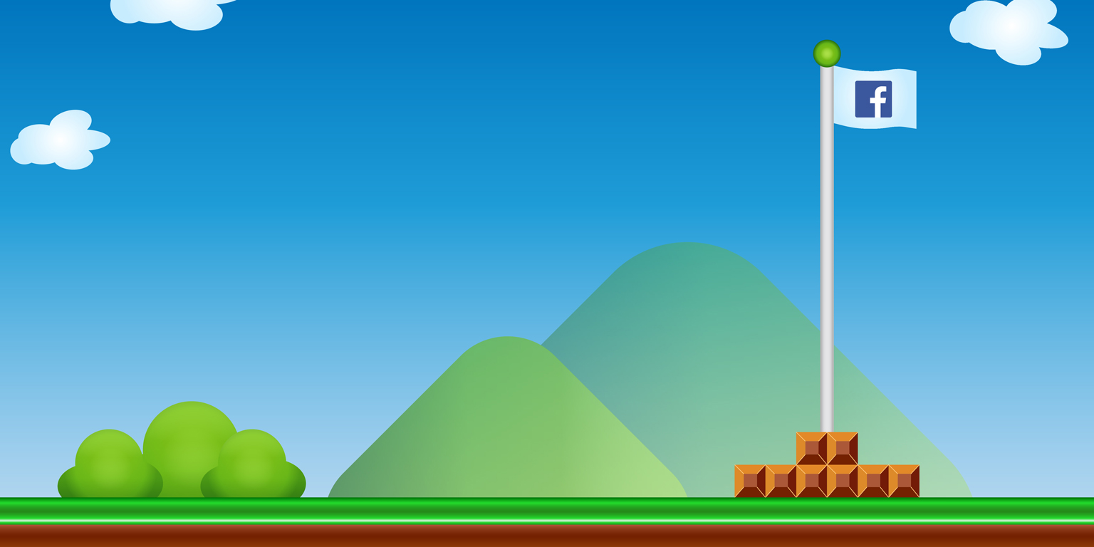 Mario Brothers' style graphic with Facebook flag.